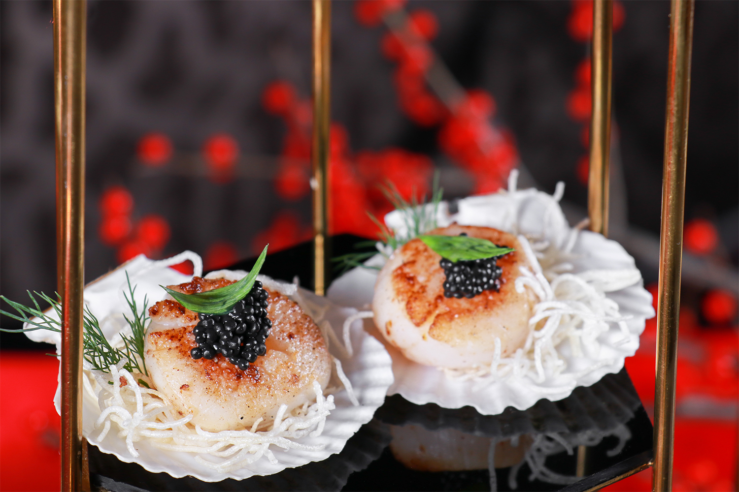 Seared scallop with pumpkin sauce and crispy rice noodles.jpg